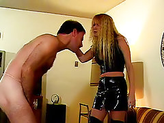 Spanking handjob Latex Mature