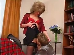 Blonde licking Mature Mom